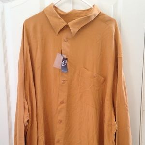 Cotton Reel LS 100% Silk Sport Shirt, 4XL - NWT